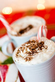 Hot chocolate garnished with whipped cream — Stock Photo