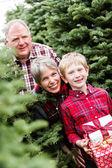 Family at Christmas tree farm — Stock Photo