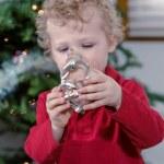 Little boy decorating Christmas tree — Stock Photo #60061421