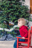 Little boy in chair at Christmas tree — Stok fotoğraf