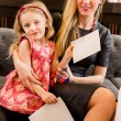 Mother and daughter with letter to Santa — Stock Photo #60239653