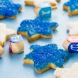 Hanukkah white and blue stars hand frosted sugar cookies — Stock Photo #60694331