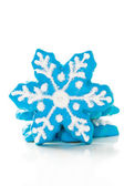 Blue cookies in shape of snowflakes — Stock Photo