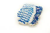 White and blue cookies in shape of winter mittens — Zdjęcie stockowe