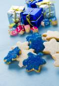 Hanukkah white and blue stars hand frosted sugar cookies — Stock Photo