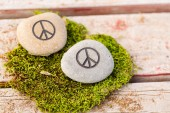 Round stones with sign peace — Stock Photo
