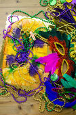 King cake close up for Mardi Gras — Fotografia Stock