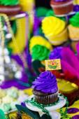 King cake close up for Mardi Gras — Stock Photo
