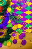 Multicolored decorations for Mardi Gras party — Stock Photo