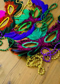 Multicolored decorations for Mardi Gras party — Stock Photo