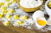 Making cheese tortellini — Stock Photo