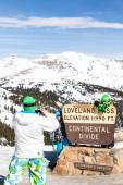 People take pictures at Loveland pass — Photo