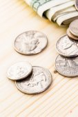 American bills and coins — Stock Photo