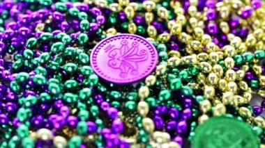 Multicolored decorations for Mardi Gras party — Stock Video