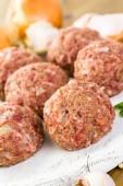 Cooking large homemade Italian meatballs — Zdjęcie stockowe