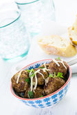 Homemade Italian meatballs with cilantro and parmesan cheese — Stock Photo