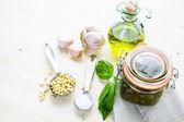 Homemade basil pesto sauce — Fotografia Stock