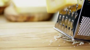 Metal grater and cheese — Stock Video