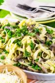 Fettuccine with mushrooms close up — Stock Photo