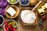 Ingredients for fruit tarts — Stock Photo