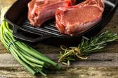 Organic pork lion chops of thick cut — Stock Photo
