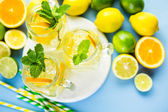 Water with fresh citrus fruits and ice — Stockfoto
