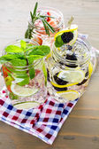 Water made with organic citruses and berries — Stock Photo