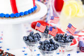 Desserts on the table for July 4th party. — Stock Photo