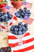 Desserts on the table for July 4th party — Stock Photo
