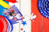 White, blue and red decorations for July 4th barbecue — Stock Photo