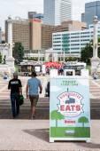 Gathering of gourmet food trucks at Civic Center Park — Stock Photo