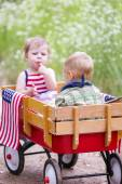 Two cute toddlers in the park — Stock Photo