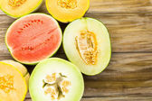 Variety of organic melons — Stock Photo