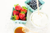 Ingredients for smoothie with plain yogurt and berries — Φωτογραφία Αρχείου
