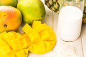 Ingredients for smoothie with tropical fruits. — Stock Photo
