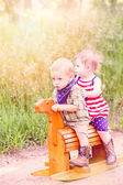 Toddlers having fun in the park — Stock Photo