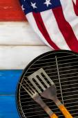 July 4thSmall round charcoal grill ready for grilling — Stock Photo