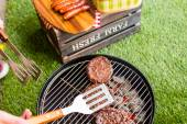 Summer picnic with small charcoal grill — Stock Photo
