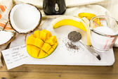 Mango banana smoothie with chia seeds — Stock Photo