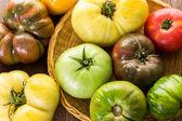 Freshly picked heirloom tomatoes — Stock Photo
