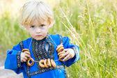 Little boy in Russian costume — Stock Photo