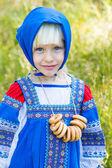 Girl in Russian costume — Stock Photo