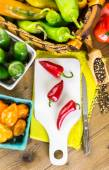 Organic peppers on the table — Stock Photo