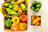 Peperoni biologici sul tavolo — Foto Stock