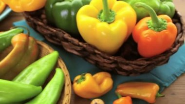 Organic peppers on the table — Stock Video