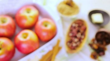 Ingredients for Baked apples — Stock Video