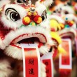 Traditional colorful chinese lion, Chinese paper means: good for — Stock Photo #55131437