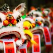 Traditional colorful chinese lion, Chinese paper means: good for — Stock Photo #55131531