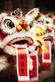 Traditional colorful chinese lion, Chinese paper means: good for — Stock Photo