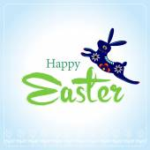 Happy Easter Typographical Background with easter bunny, easter — Stock Vector